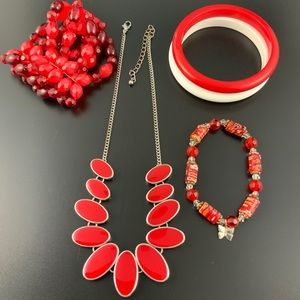 Jewelry - Red jewelry lot beaded bracelets necklace bangles